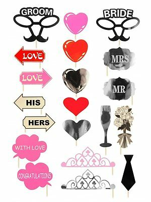 Wedding Pack of 20 Fun Photo Props Selfie Photo Booth Accessories