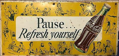 RARE Coca Cola Soda Tin over cardboard  Pause Refresh Drink Sign