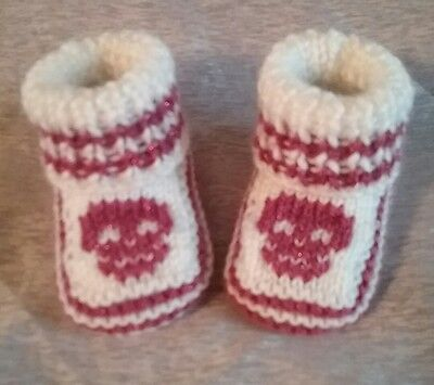cute hand knitted baby booties skulls goth punk new 0-3 months