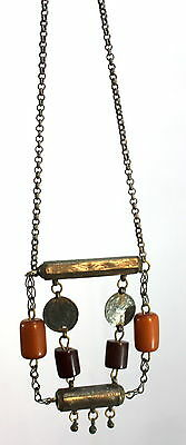 Antique Handmade Necklace Oriental  Low Silver Jewelry Two Houses for Amulets