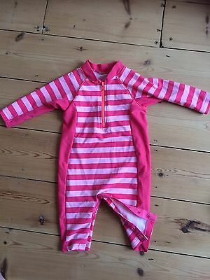 Baby Girls M&S Swimming Costume & Hat, Size 3-6 Months Or Bigger