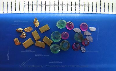 (UK) 5 gold bullion 999+5 gold nuggets+5 rough diamond+5 emerald+5 ruby