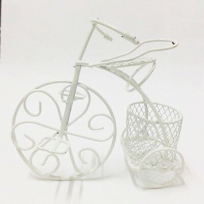 White Bicycle Metal Home Garden Decor Plant Stand Outdoor Indoor Basket Yard New