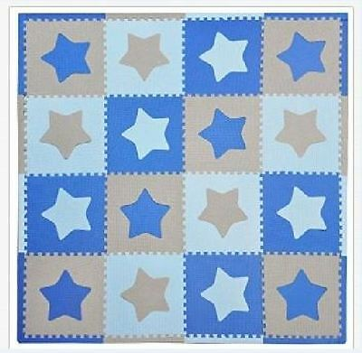 Tadpoles Playmat 2 SETS 32 sq ft Blue/Grey with stars NEW