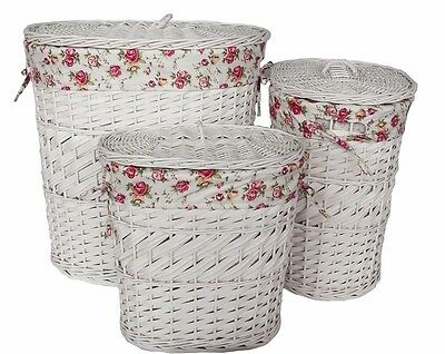 Laundry Basket - 3 Pieces - Willow/Wood Chip White