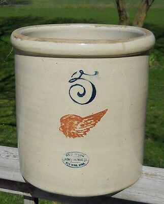 Antique Red Wing Stoneware Crock 5 Gallon Pickle Jar Vintage Jug Perfect Cond!
