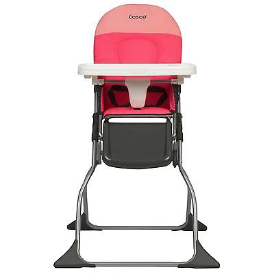 Fold High Chair Simple Baby Feeding Fast Shipping Adjustable Space color Pink