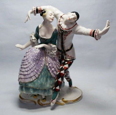 Germany KARL ENS 1921 Art Deco. Harlequin and Colombina.