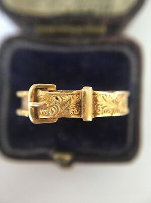 Victorian Antique Yellow Gold 18ct 18k Hallmarked Ornate  Buckle Ring