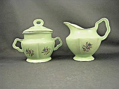 Antique Spring Time Covered Sugar Bowl & Creamer Green With Roses Ceramic