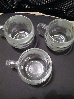 3 Nestle World Etched~Glass Mugs/Cups~Coffee/Tea/Cocoa~Nescafe Vintage LOT