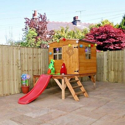 Childrens Wooden Playhouse Treehouse Tower & Slide Outdoor Play House Kids EN-71