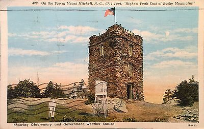 1940 Postcard On Top Of Mount Mitchell, Observatory Weather Stat North Carolina