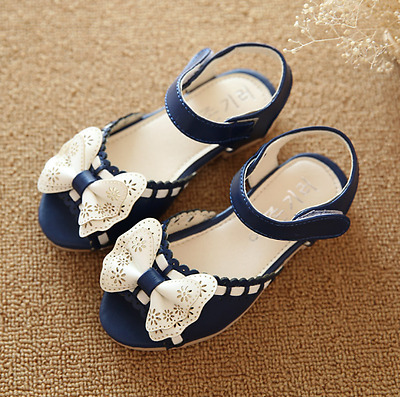 New Girls Baby Bow Princess Shoes Party Dress Kid Summer Flat Heels Shoes