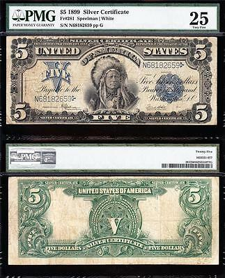 "VERY NICE Bold & Crisp VF 1899 $5 ""INDIAN CHIEF"" Silver Cert! PMG 25! N68182659"