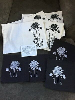 Set of 4 Linen Placemats & Napkins Black White Screen Printed Flowers Hand Made