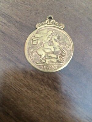 Vintage Novelty King George IIII Gold Coloured Sovereign Coin Pendant 1823