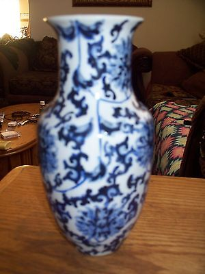 """Hong Kong Hand painted porcelain vase A C F 8 1/2"""" Tall,Blue white"""