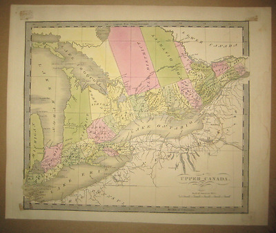 Antique Map UPPER CANADA Greenleaf 1844 Original #31