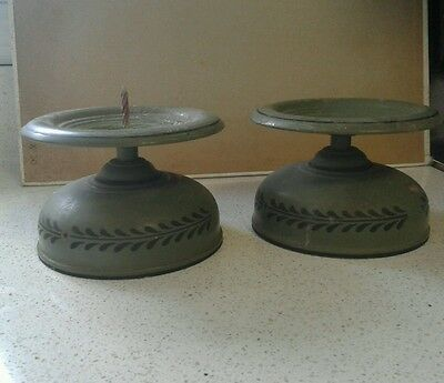 (2) Tole Toleware Green Black American Metal Candle Holders
