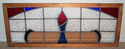 Vintage 35x14 Flower Stained Art Glass Clear Framed Suncatcher Window Panel