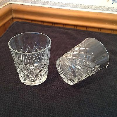 Drambuie Set (2) Rocks, Lowball, Scotch Liquor Glasses, Diamond Pattern