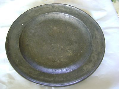 Antique large stamped pewter tray, plate, charger 1800's