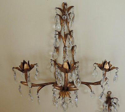Old  Pair Italian Gold Gilt Tole Sconces Candelabra. 3 Light. Prisms!!!