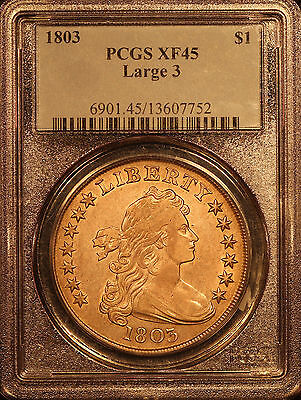 1803 $1 Draped Bust Dollar  Large 3 PCGS XF-45 with luster