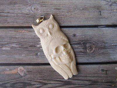 Pendant Necklace Owl and Skull Head From Buffalo Bone Carved w/ Silver 925_b307