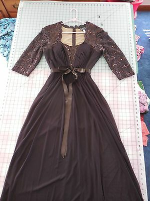 Womens Brown formal dress long Mother of the Bride Wedding  size 14 rich brown