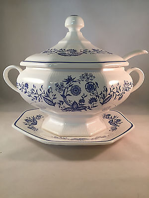 Vintage Transferware Blue & White Soup Tureen W/ Ladle & Underplate