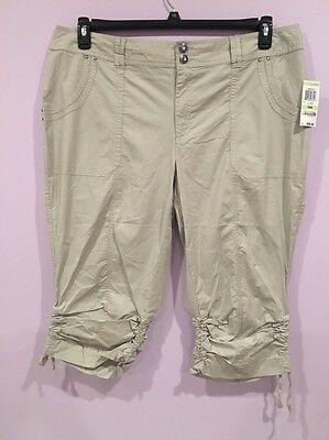 d7186ad7a1f94 INC International Concepts Plus Size Ruched Cargo Cropped Pants Beige14W Nwt