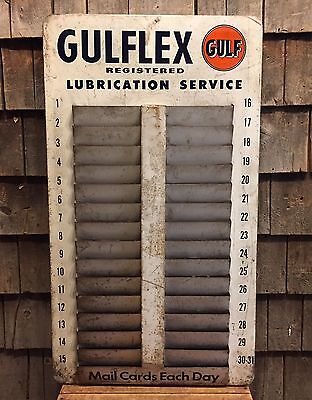 Rare Vintage GULF Gulflex Gas Service Station Mail Cards Rack Sign 33x18
