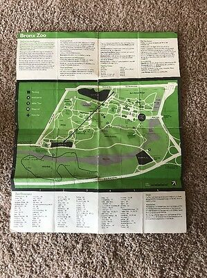 Vintage c1983 Bronx Zoo Map / Tour in New York City