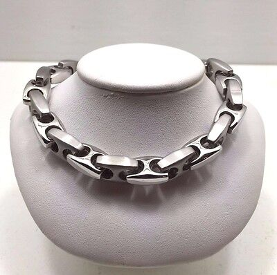 Rare Vintage Estate Stainless Steel Industrial Box Bike Link Mens Bracelet Heavy
