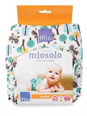 Brand New Miosolo Racoon Print ReUsable Nappy - One Size - Birth To Potty