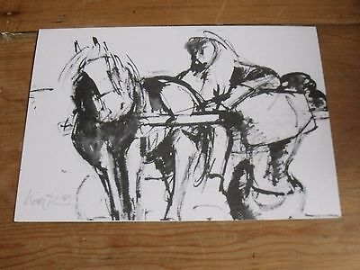 Welsh Artist Will Roberts Signed Card The Last Cockle Cart Kyffin Associate Rare