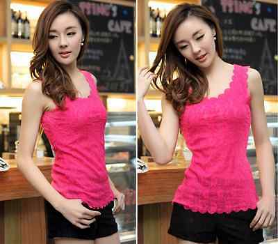Sexy Tank Top Ladies Stunning T-shirt Blouse New Womens Floral Lace Wave Vest