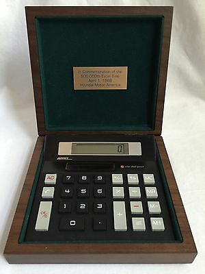1988 Hyundai Excel Factory Desk Calculator & Alcraft Genuine American Walnut Box