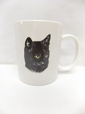 Black Kitty Cat Porcelain Coffee/Tea Cup 3 3/4 Inch Tall Fired Decal Front/Back