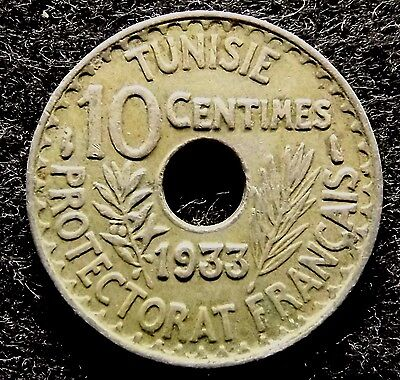 TUNISIA 10 Centimes 1933 - Scarce French Africa Tunisie Coin, KM# 259 (#610)