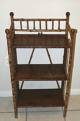 Atq Victorian 19th C Tortoiseshell Tiger cane Bamboo Bookcase Etagere Honeycomb
