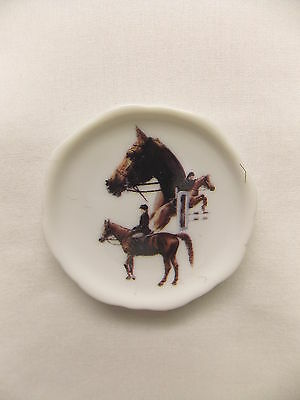 Brown Riding & Jumping Horse 3 View Porcelain Plate Magnet Fired Decal- 62