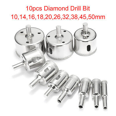10Pcs Diamond Hole Saw Set 10Mm-50Mm Drill Bit For Tile Ceramic