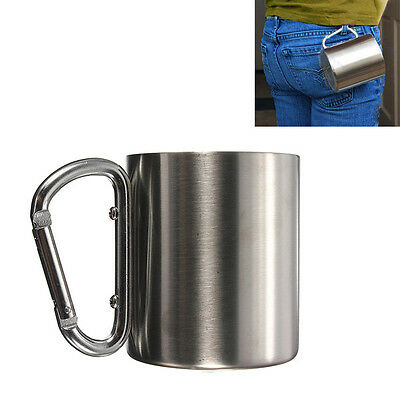 220Ml Portable Stainless Steel Mug Camping Cup Carabiner Double