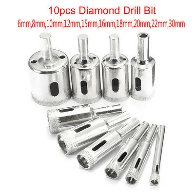 10Pcs Diamond Hole Saw Drill Bit Set 6Mm-30Mm For Tile Ceramic