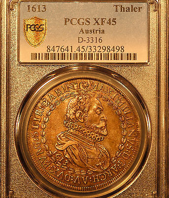1613 Austria Thaler, Maximillian, D-3316, PCGS XF-45 Original, Choice w/ color