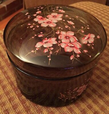 Hand Painted French Art Glass Covered Trinket Box