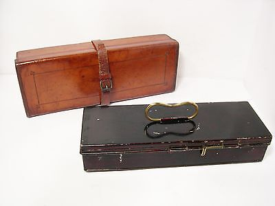 Vintage Antique Japanned Lure Tackle Box in Leather Block Case & Hardy Lures